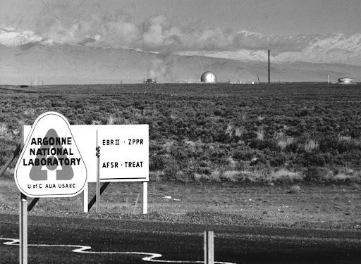 Black and white photo of Argonne National Laboratory